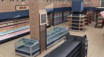 Bazar Store Market dizaynı 3D çizimi