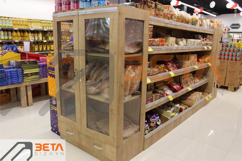 Market dizaynı ekmek reyonu